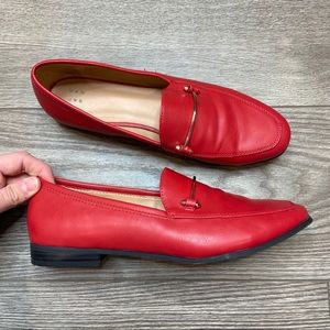 A New Day Red Faux Leather Women's Loafer Flats